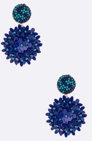Royal Blue Beaded Floral Earrings