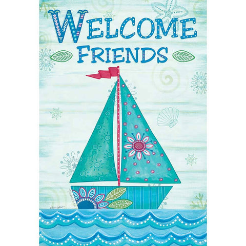 Garden Flag - Welcome Friends Sailboat