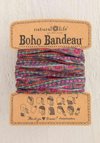 Boho Bandeau Headband - Scalloped Rows Print