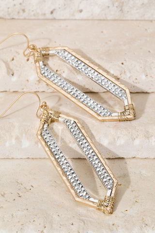 Hexagon Pave Earrings