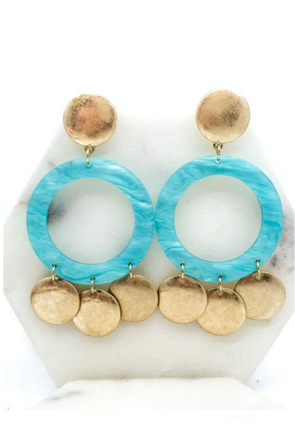 Turquoise Resin and Worn Gold Earrings