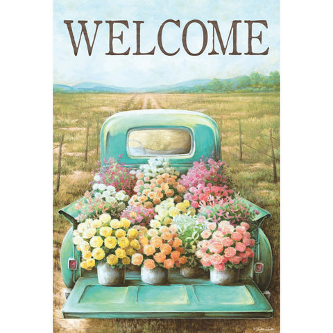 Garden Flag - Welcome Flower Truck