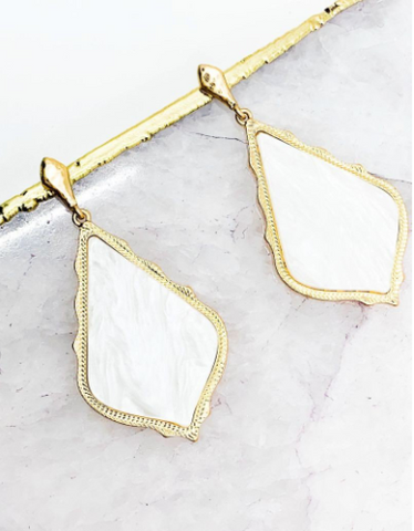 White and Gold Pressed Shell Earrings