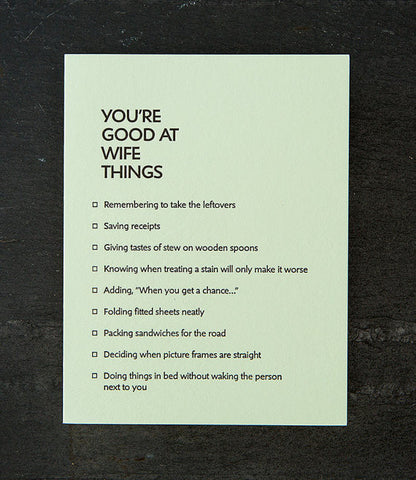 Greeting Card - You're Good at Wife Things