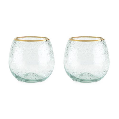 Gold Rim Bubble Stemless Wine Glass Set