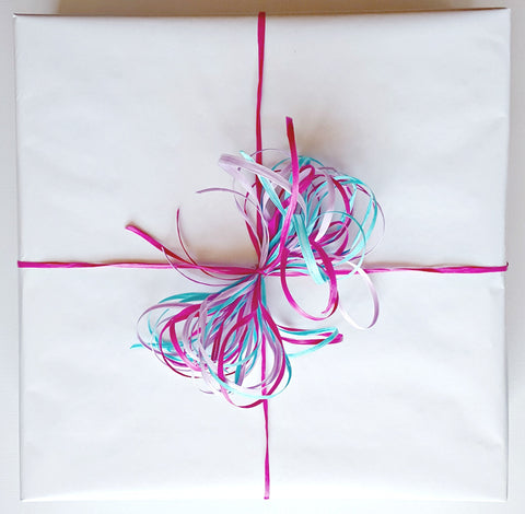 Gift Wrap Service - Glossy White with Raffia Bow