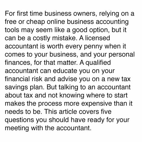 Top five questions you should ask your accountant at tax time