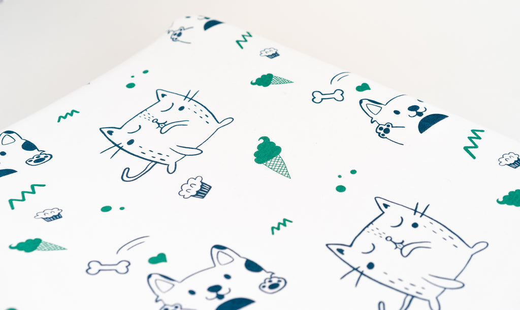 Organic Cotton Interlock Crib Sheet -  Puppies and Kittens - Animal Collection