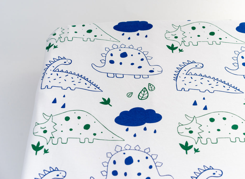 Organic Cotton Interlock Crib Sheet - Dinos - Animal Collection