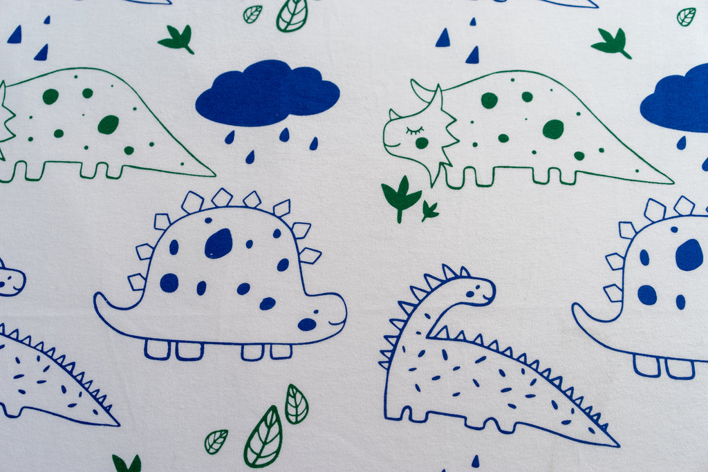 Magnolia Organics Organic Cotton Interlock Crib Sheet - Dinos - Animal Collection