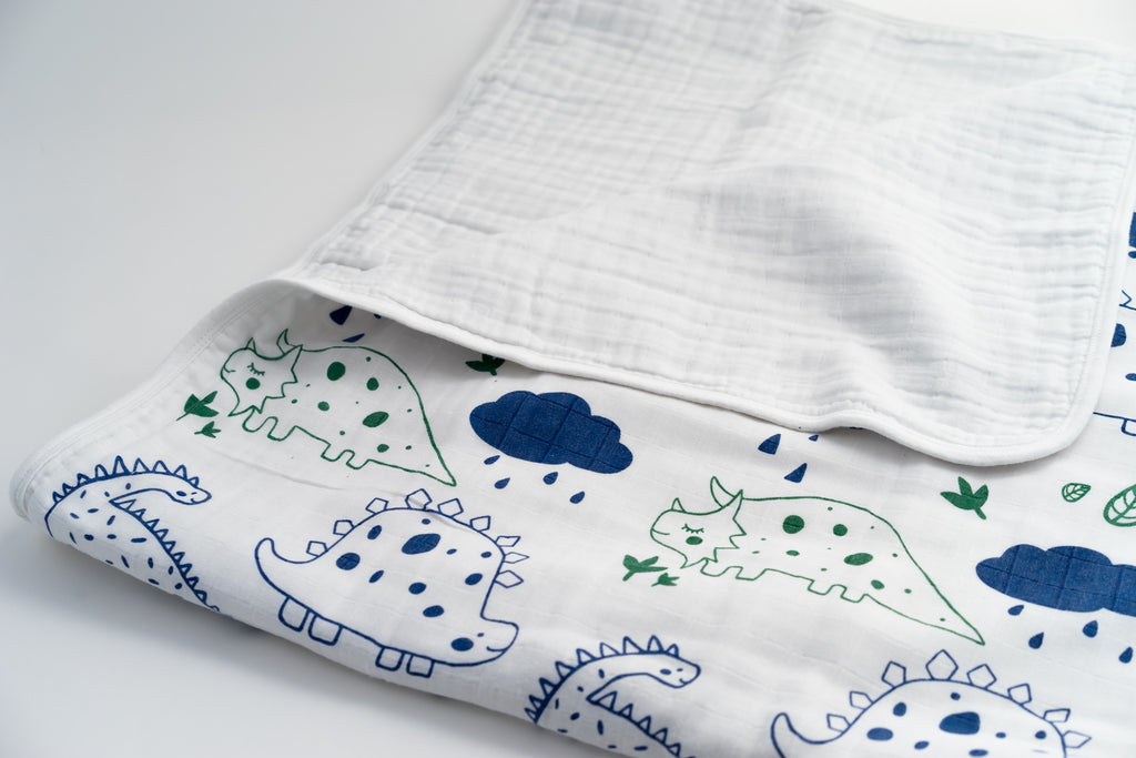 4 Layer Organic Muslin Blanket - Dinos - Animal Collection