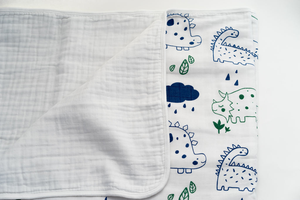 Magnolia Organics 4 Layer Organic Muslin Blanket - Dinos - Animal Collection