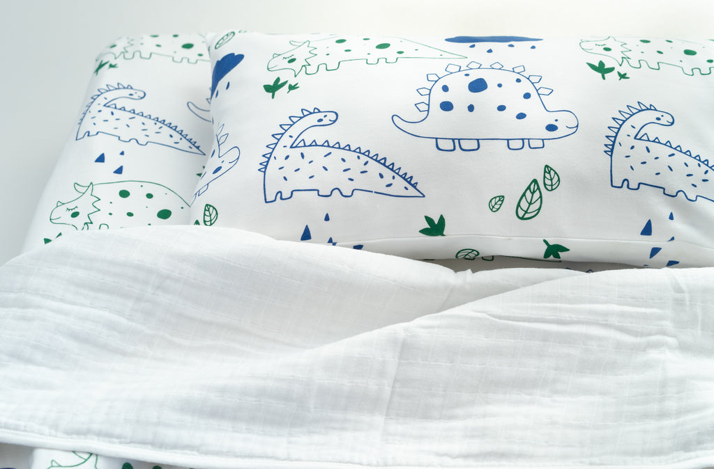 Organic Interlock Toddler Pillowcase - Dinos - Animal Collection