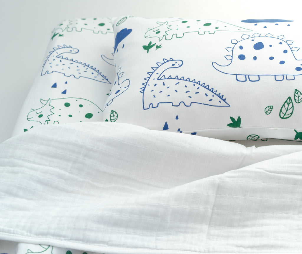 Magnolia Organics Organic Interlock Toddler Pillowcase - Dinos - Animal Collection