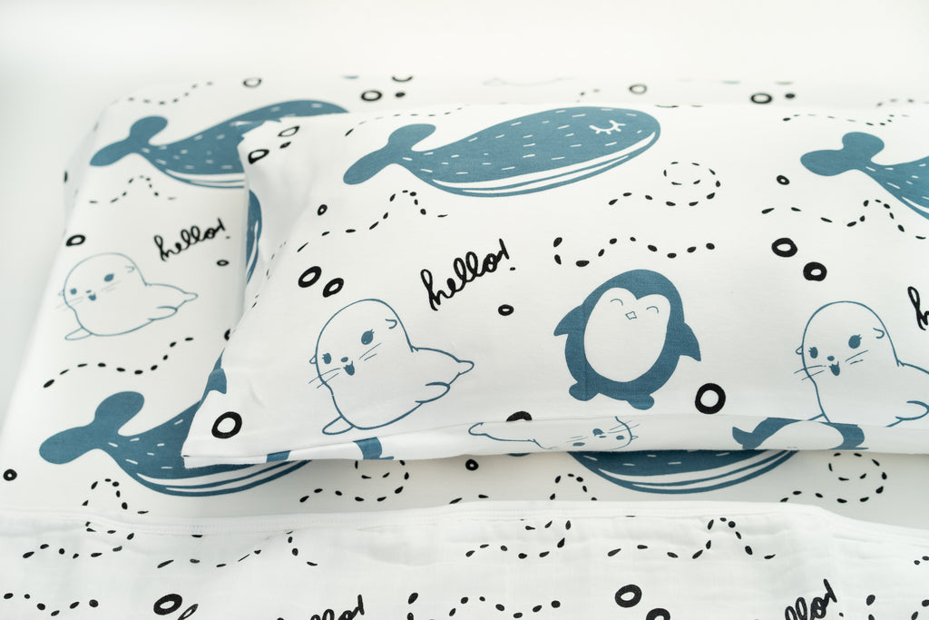 Magnolia Organics Organic Cotton Interlock Crib Sheet - Arctic- Animal Collection