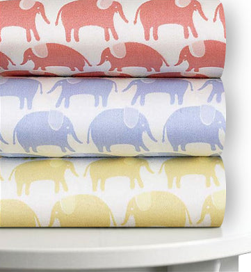 Magnolia Organics Organic Cotton Sateen Elephant Fitted Crib Sheet