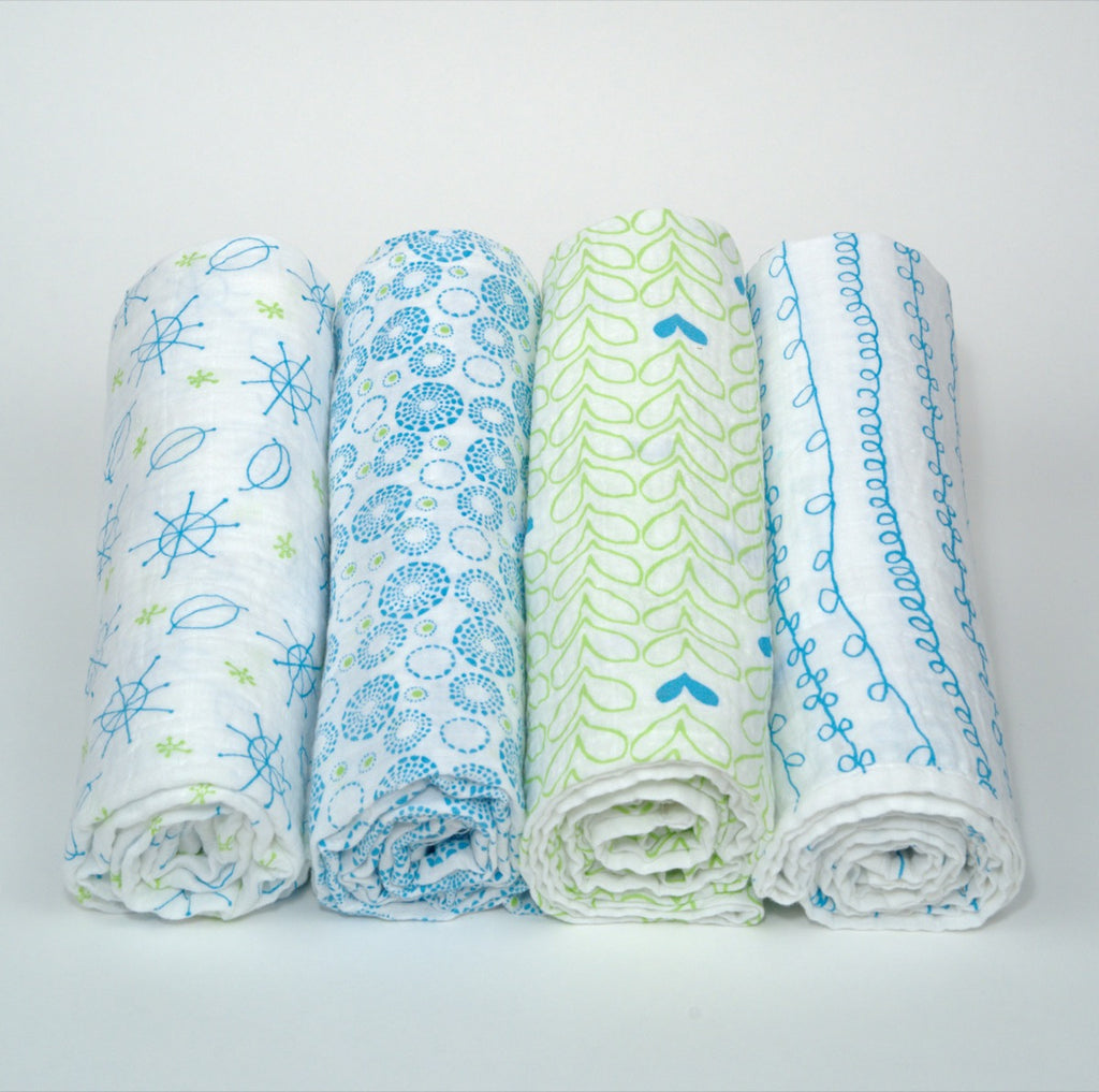 Organic Cotton Muslin Swaddle Blanket Set