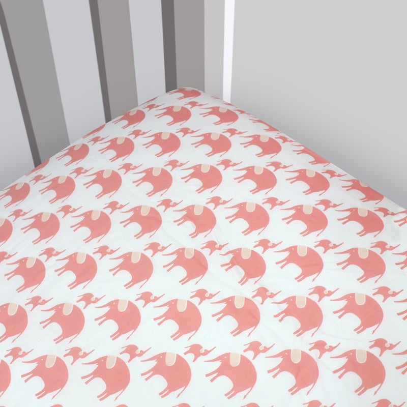 Magnolia Organics 330 Thread Count Organic Cotton Sateen Elephant Fitted Crib Sheet