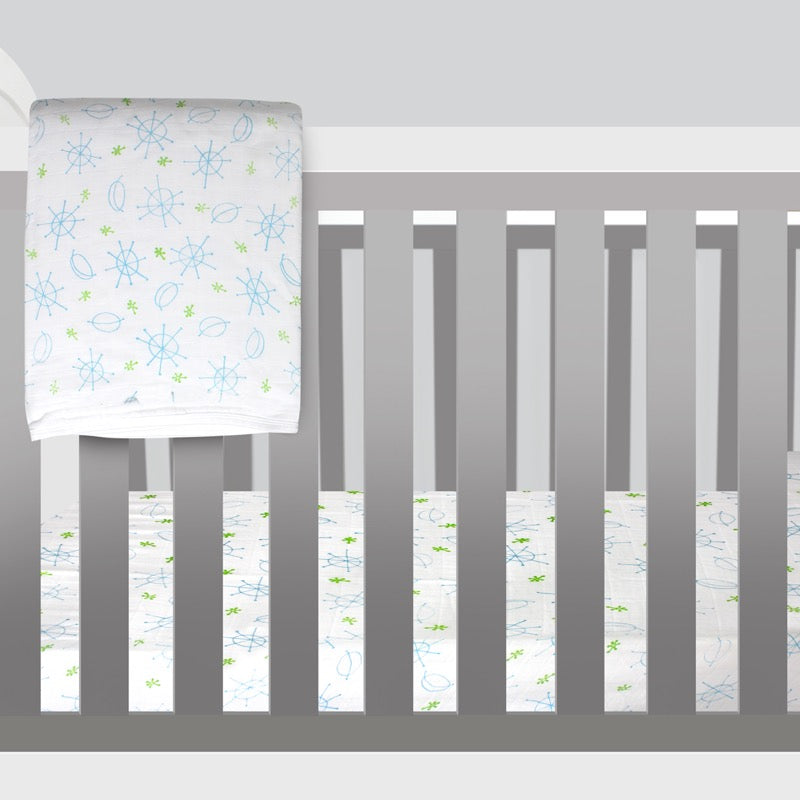 Magnolia Organics Double Gauze Crib Sheet - Seeing Spots
