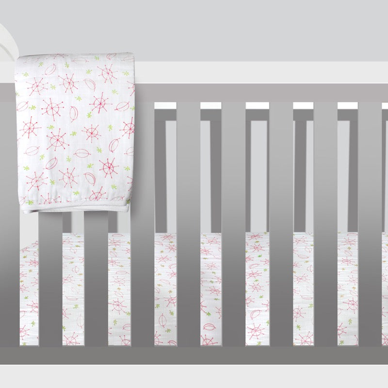 Double Gauze Crib Sheet - Seeing Spots