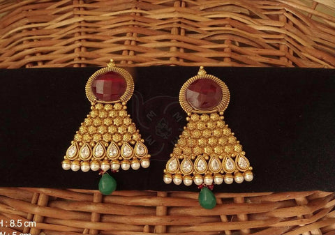 RUBY GREEN ANTIQUE EARING SET
