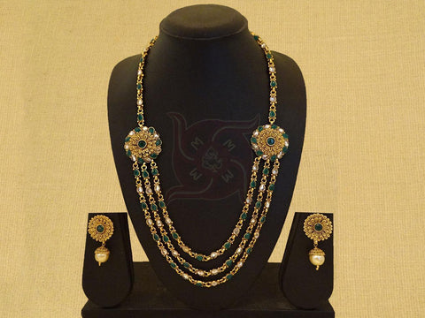 GOLD PLATED 3 LINE LONG CHAIN WITH ANTIQUE PENDANT AND TRADITIONAL NECKLACE SET