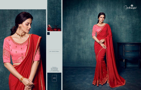 RED VICHITRA SILK SAREE