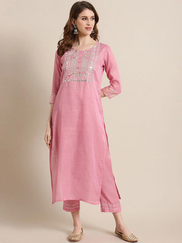 PINK YOKE DESIGN KURTA WITH TROUSERS