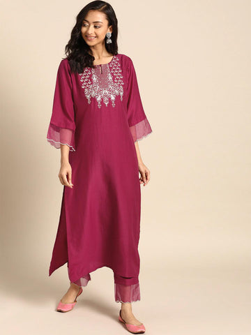 MAGENTA & GOLDEN YOKE DESIGN KURTA WITH TROUSERS