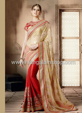Beige Viscose Party Wear Saree - Mangalam