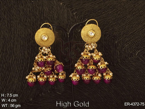 TRIANGULAR MOTI FALL ANTIQUE EARING