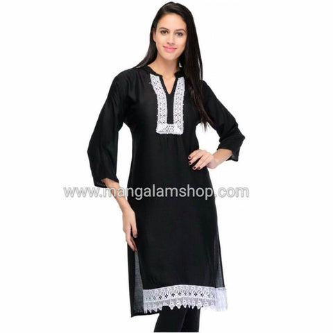 Black Poly Rayon kurti for online shopping - Mangalam