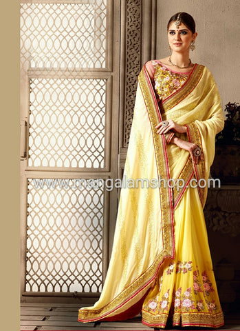 Yellow Satin Party Wear Saree - Mangalam