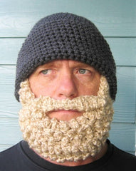 man with fake knitted beard