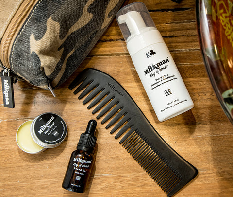 army dopp bag with beard products