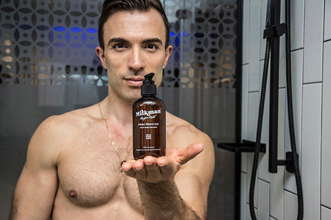 shirtless man with clear shave gel
