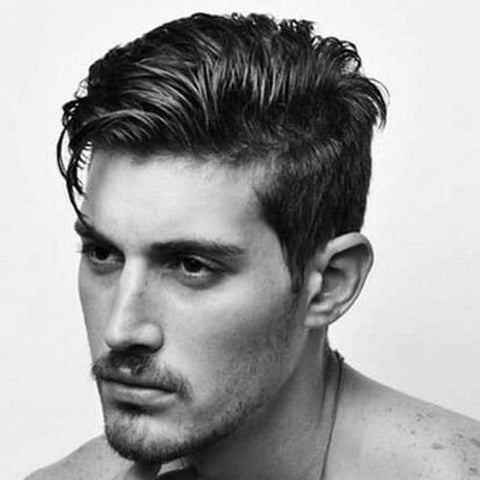 greaser style hair cut with moustache