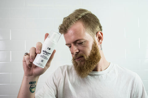 Bearded man with gentle facial hair cleanser