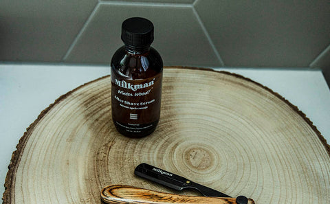 milkman grooming co wood handle cut throat razor with after shave serum
