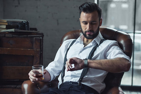 bearded man with watch