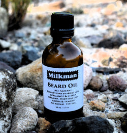 beard oil at the beach
