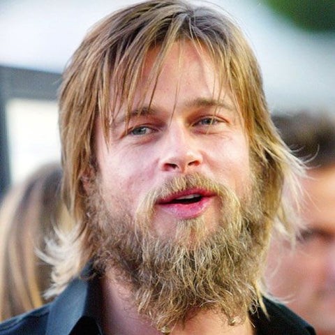 brad pitt with messy beard