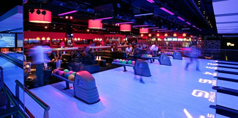 bowling alley under lights