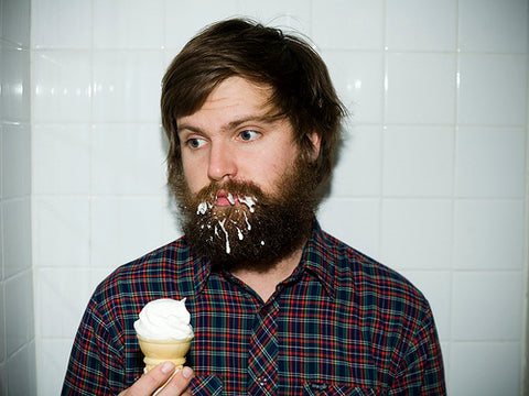 ice cream in beard