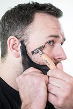 Load image into Gallery viewer, bearded man using beardrometer beard shaper