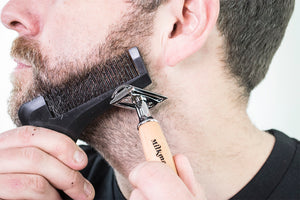 beard shaping tool in use