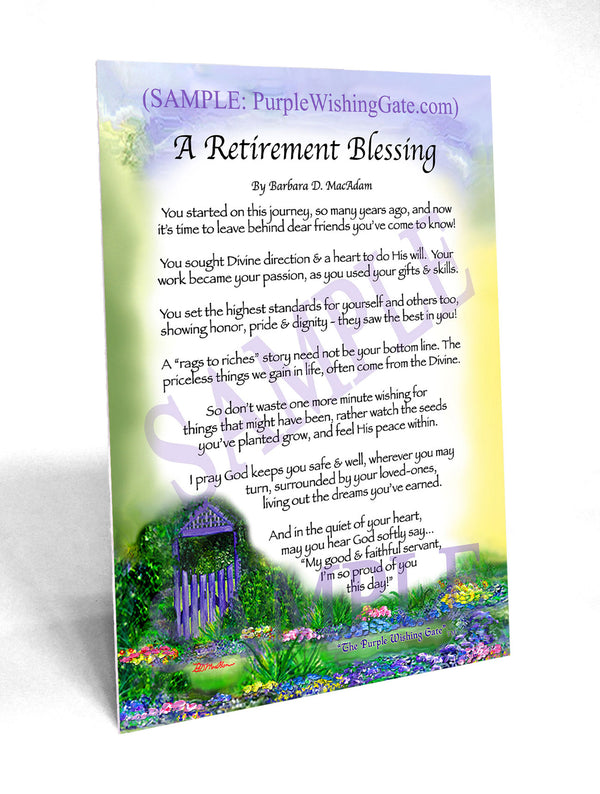 A Retirement Blessing Framed Amp Personalized Gifts