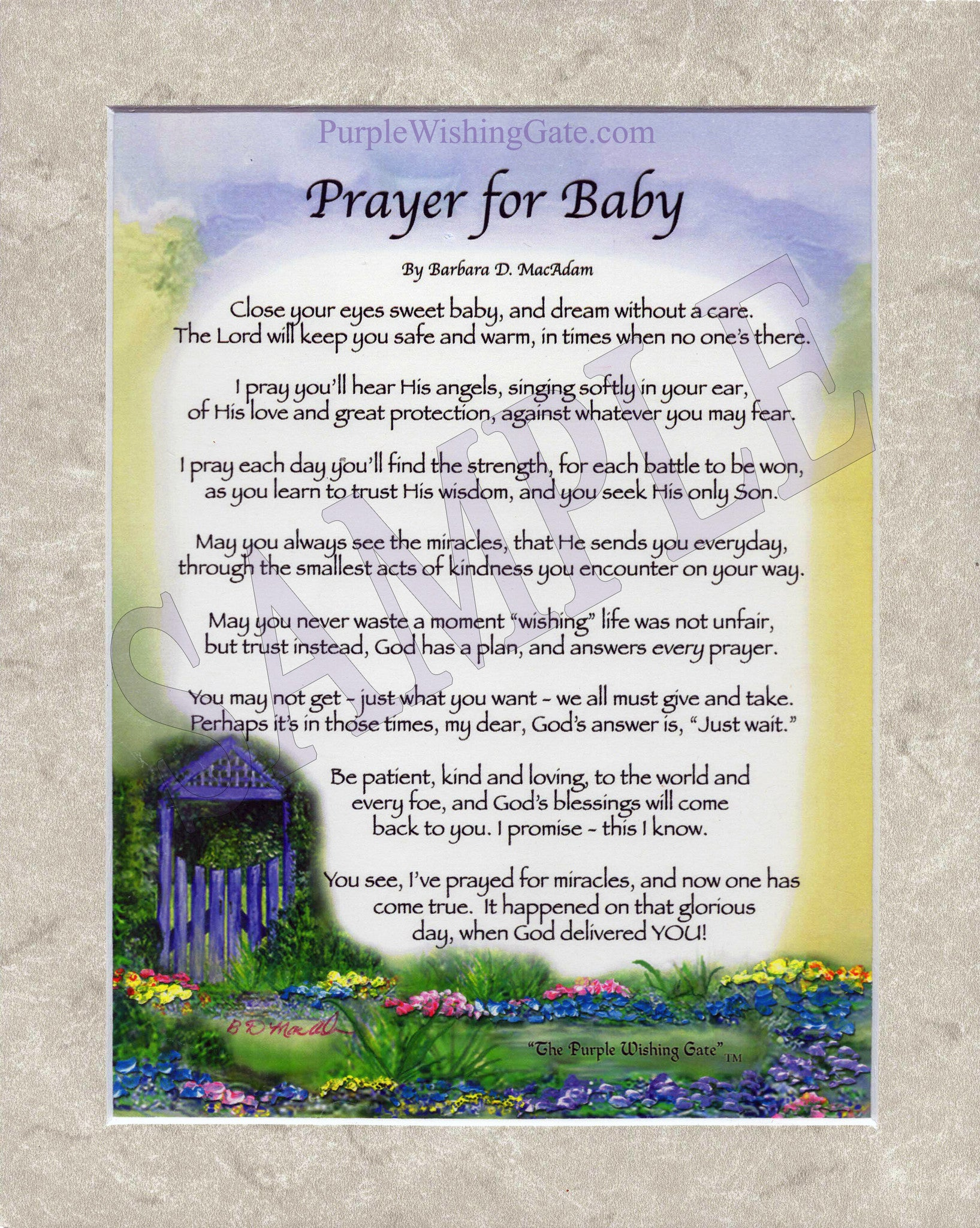 A Prayer for Baby (8x10) - 8x10 Custom Matted Clearance - PurpleWishingGate.com