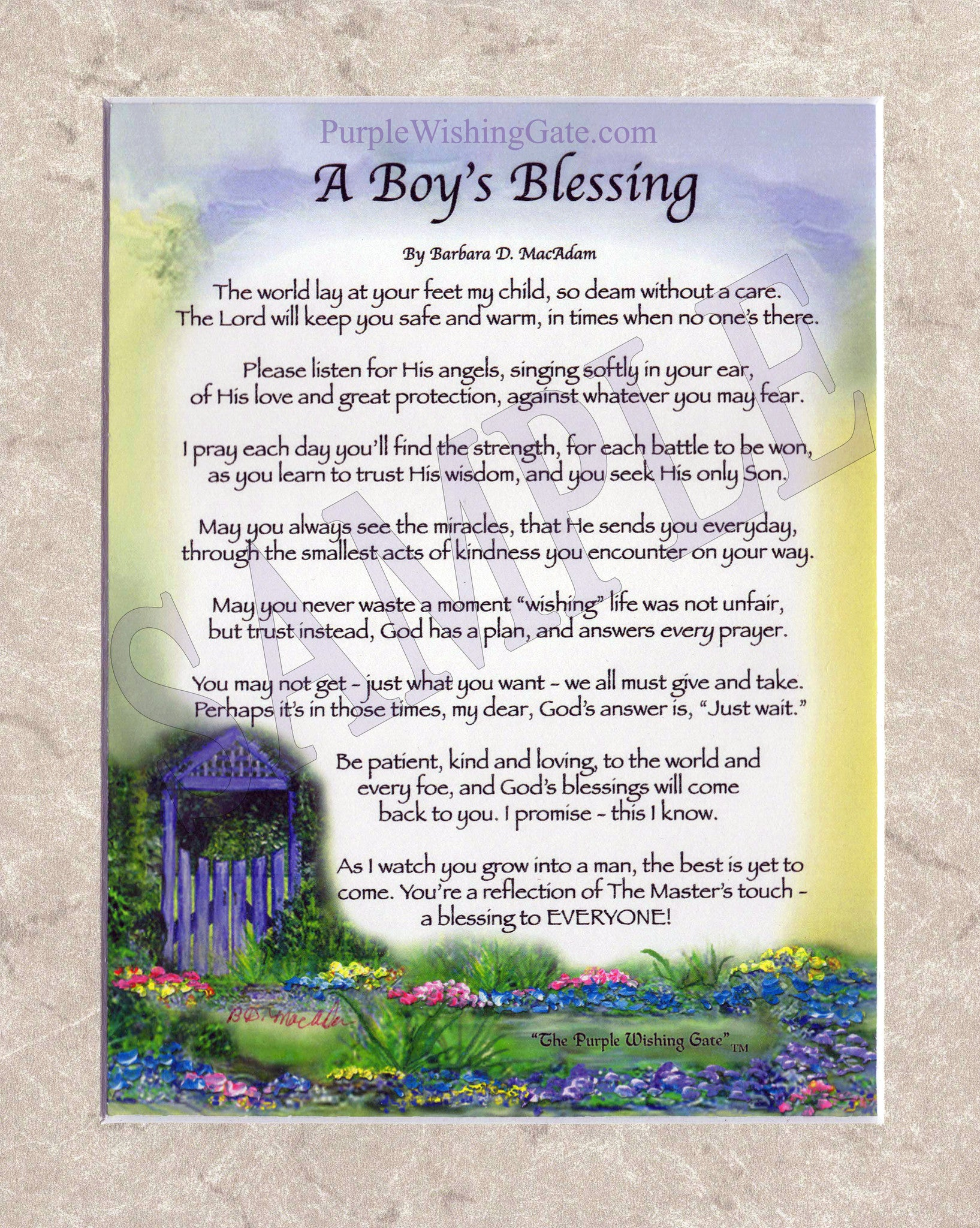A Boy's Blessing (8x10) - 8x10 Custom Matted Clearance - PurpleWishingGate.com