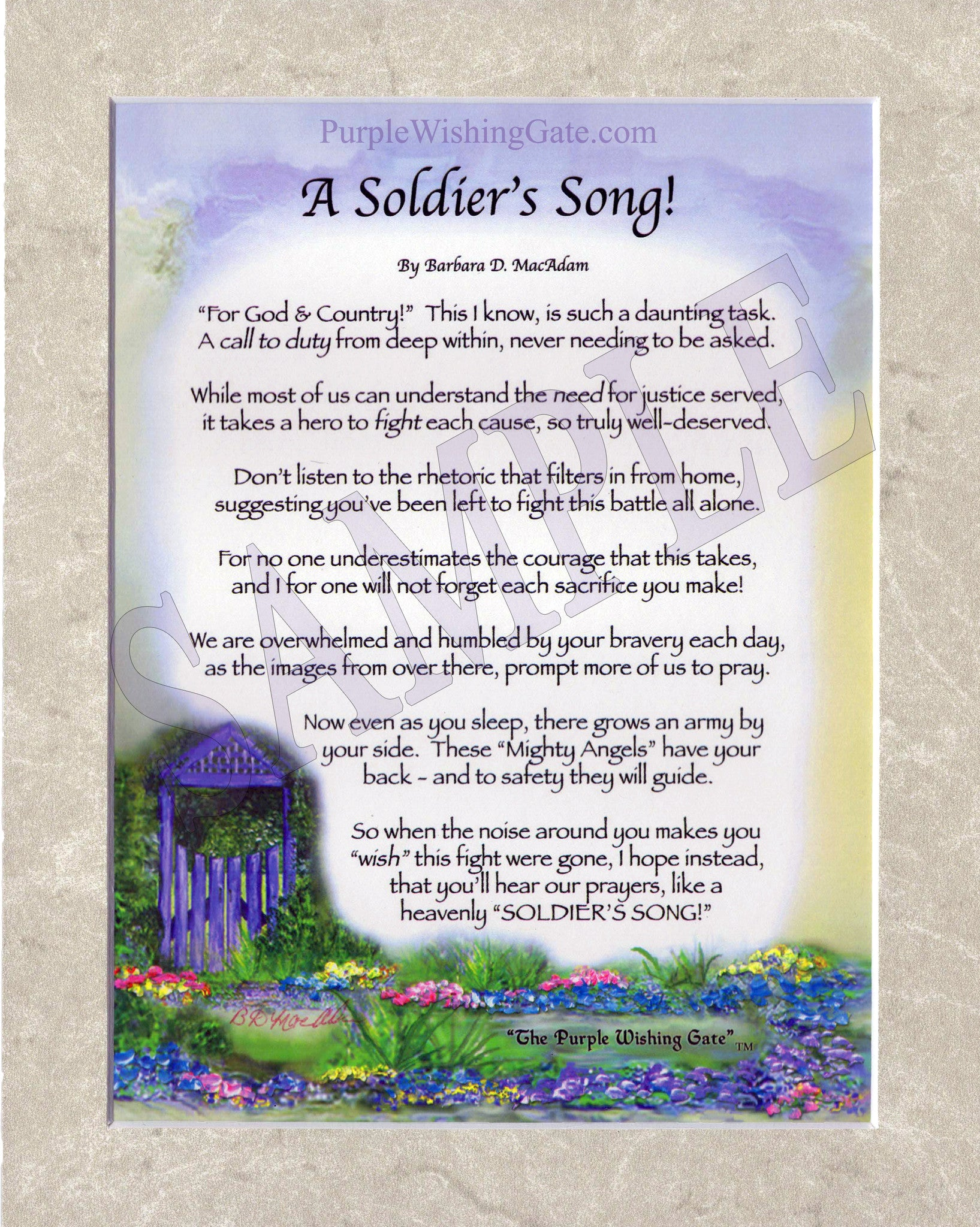A Soldier's Song (8x10) - 8x10 Custom Matted Clearance - PurpleWishingGate.com